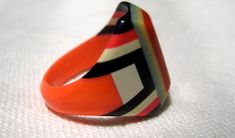 Vintage 1930s Deco celluloid prison ring made from a toothbrush handle.