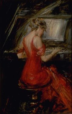 La femme en rouge   (The Woman in Red) by Giovanni Boldini