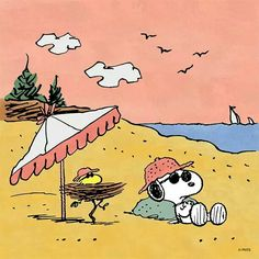 Snoopy and Woodstock hangin' at the beach Snoopy Cartoon, Snoopy Comics, Peanuts Cartoon, Peanuts Gang, Charlie Brown And Snoopy, Snoopy Et Woodstock, Snoopy Love, Peanuts Characters, Cartoon Characters