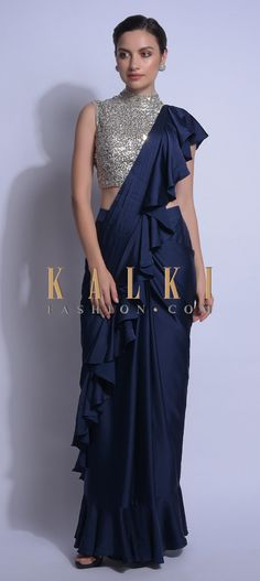 Buy Traditional Indian Clothing Navy Blue Ready Pleated Ruffle Saree In Satin With Sequins Embellished Blouse Online - Kalki Fashion Fancy Sarees Party Wear, Saree Designs Party Wear, Party Wear Sarees Online, Lehenga Designs, Buy Sarees Online, Saree Wearing Styles, Saree Styles, Trendy Sarees, Stylish Sarees