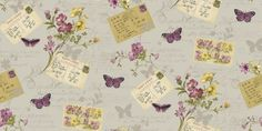 Lilac one fr K - Postcards Home Parfait (950903) - Sophie Conran Wallpapers - A pretty retro 1940's effect with postcards, text and floral detail giving a vintage scrapbook feel. Shown here in pink, purples and yellow on a soft grey /lilac background.  Paste the wall. Please request sample for true colour match.