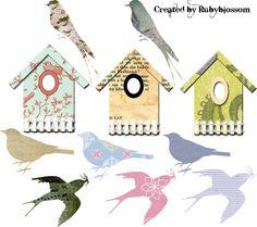 free bird collage sheet