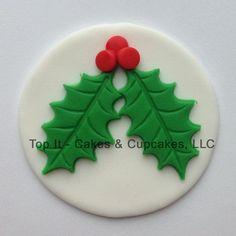 Fondant Cupcake Toppers acebo de la Navidad y la por TopItCupcakes