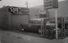 """Ed """"Big Daddy"""" Roth's Bell, CA shop in late '60s"""
