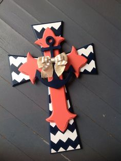 Large Stacked Door triple stacked door Cross with burlap bow and anchor on Etsy, $69.00