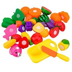 Schoolsupplies 16pcs/set Plastic Kitchen Food Fruit Vegetable Cutting Kids Pretend Play Educational Puzzle Learning Plastic Toy Satety -- This is an Amazon Affiliate link. Read more at the image link.