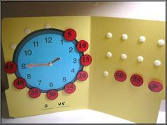 Station to practice putting together a clock and counting by fives