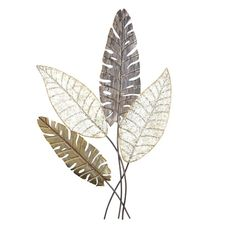 World Menagerie This beautiful wall decoration is made of metal and features a lovely leaf motif. It is painted in antique gold, silver and grey. Antler Wall Decor, Wine Wall Decor, Heart Wall Decor, Flower Wall Decor, Elephant Wall Decor, Angel Wings Wall Decor, Motif Art Deco, Deco Nature, Metal Tree