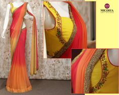 Hi Ladies....!!Check out this Pretty saree with lovely shades from Mugdha..!!This saree shades looks like a fresh morning..Isn t it 01 October 2016
