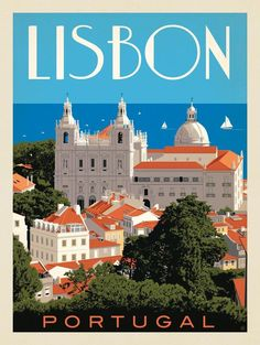 travel poster Anderson Design Group World Travel Portugal: Lisbon Lisbon Portugal, Portugal Travel, Spain Travel, Spain Tourism, Poster City, Tourism Poster, Travel Illustration, Vintage Travel Posters, Cool Posters