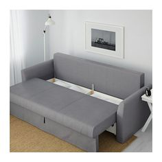 Leather Sectional Sofa IKEA HOLMSUND Sleeper sofa Nordvalla medium gray Cover made of extra durable polyester with a dense texture Storage space under the seat
