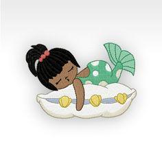 "Embroidery Design - Sleeping Mermaid A 1A - 4x4"" hoop."