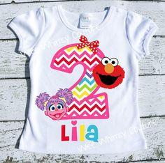 Elmo and Abby Personalized Birthday Tee shirt Chevron Rainbow Girly