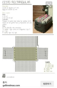 maybe a matching crocheted storage basket (from zpagetti type tshirt yarn) to match a grey crochet bath mat . Crochet Basket Tutorial, Crochet Box, Crochet Basket Pattern, Crochet Diagram, Crochet Purses, Love Crochet, Crochet Crafts, Crochet Projects, Crochet Patterns
