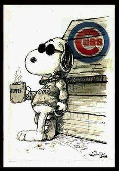 Snoopy aka Joe Cool & The Cubs Chicago Cubs Pictures, Chicago Cubs Fans, Chicago Map, Chicago Cubs Baseball, Baseball Pictures, Cubs Win, Go Cubs Go, Joe Cool, My Kind Of Town