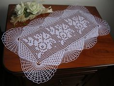 Fine lace crochet doily (runner) all handmade Size •50 x 29 cm. Colour: white Conditions: new