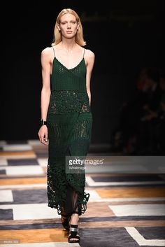 A model walks the runway at the Salvatore Ferragamo show during the Milan Fashion Week Autumn/Winter 2015 on March 1, 2015 in Milan, Italy.