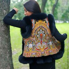 "Work of the day: Vest ""Slavic patterns"". … – Most Beautiful Fur Models Folk Fashion, High Fashion, Hippie Pants, Fur Clothing, Fur Accessories, Vintage Trends, Russian Fashion, Elegant Woman, Fur Trim"