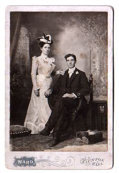 vintage 1890's cabinet card photo--wedding of Joseph & Eunice in 1899