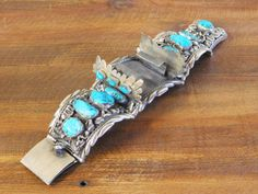 Vintage Navajo Sterling Silver and Turquoise Watch Band Bracelet