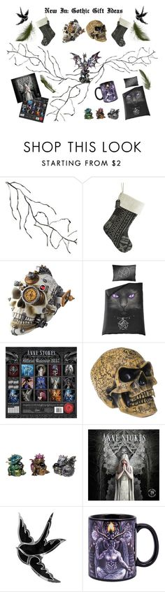 """""""New In: Gothic Gifts"""" by bluebanana ❤ liked on Polyvore featuring interior, interiors, interior design, home, home decor, interior decorating, Kurt Adler and Nemesis"""
