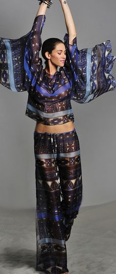 ALEXIS Van Drawstring Aztec Blue Pant and top ♥✤ | Keep the Glamour | BeStayBeautiful