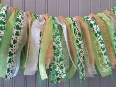 Burlap Rustic Garland shower Mantle Swag by ThreeTwigsDesigns Ribbon Garland, Ribbon Banner, Diy Garland, Fabric Garland, March Crafts, St Patrick's Day Crafts, Spring Crafts, Food Crafts, Diy Crafts
