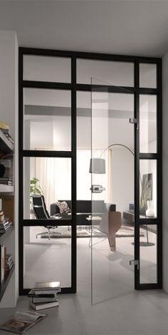 Beautiful door window wall partition with seamless glass door.    Favorite doors of www.andrearodman.com  A Vancouver based Interior Design Firm.