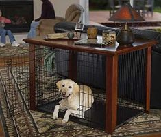 "Classic Collection Wood Dog Crate Cover - Previous Pinner said ""possible DIY?"" This is a great idea! Dog Crate End Table, Wood Dog Crate, Diy Dog Crate, Large Dog Crate, Wood Crates, Large Dogs, Crate Bed, Dog Kennel End Table, Pet Crates"