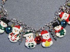 Polymer Clay Snowman Christmas Charm Bracelet  by craftymule