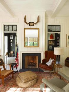 House Tour :: English Sensibilities Meet Northern California Style In One of My Favorite Homes - coco kelley coco kelley German Home, Living Area, Living Spaces, Living Rooms, California Cool, Northern California, Colorful Kitchen Decor, Cozy Fireplace, Fireplace Design