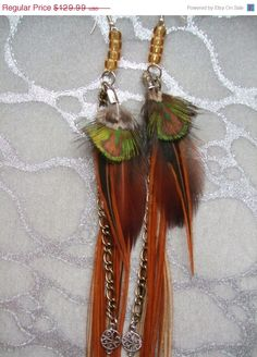 HALF PRICE SALE Auburn w Green/Gold accents Long Feather Earrings w Chains n Charms by medicineproductions, $65.00