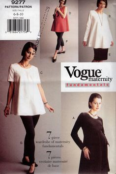 b42bf48c62cfa FREE US SHIP Sewing Pattern Vogue 9277 Vintage 90's Basic Fundamentals  Maternity Wardrobe Separates Size 6 8 10 Bust 30.5 31.5 32.5 New 7pc