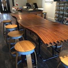 Barrel Stave Bar Top , Kitchen Counter, Dining Room Table With Gas Pipe Base by Tony Derricotte