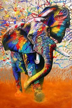 & Colours& Graphic Art Print on Canvas East Urban Home Size: 66 cm H x cm W x cm D - Size: 66 cm H x Colorful Animal Paintings, African Art Paintings, Colorful Animals, Cross Paintings, Colorful Elephant, Elephant Art, African Elephant, Graffiti Art, African Colors