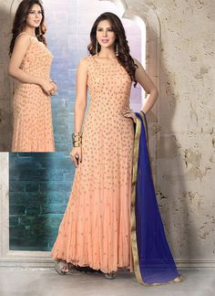peach anarkali suit is garnished with docorative cutdana, moti and sequins work are making the women vivacious. Beautiful Designer Salwar Kameez.
