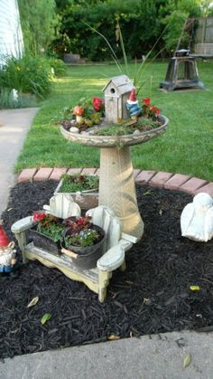 DIY gnome garden from an old bird bath.