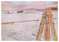 Harvesting ice, 1905 Carl Larsson