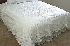 Princess Grace Style coverlet  made and embroidered by hand