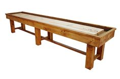 McClure's Ponderosa Pine Shuffleboard Tables are made using a unique rustic design and built using Eastern Knotty Pine that is then hand distressed. The playing surface is handcrafted from 100% solid North American hard maple. Each Ponderosa Pine shuffleboard table cabinet is available in the finish of your choice Natural Pine or Heirloom Pine. We can also custom finish your new shuffleboard table to complement your specific game room decor.