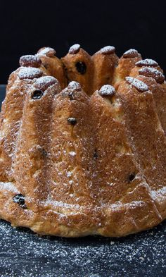 Pastry chef Christine Ferber's not-too-sweet kugelhopf, an Alsatian cake baked in a distinctive ring mold, has just a few choice raisins per slice.  #saveurlovesfrance