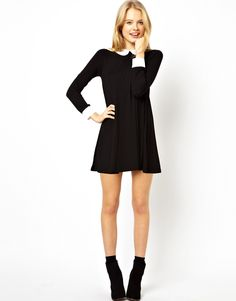 ASOS Petite | ASOS PETITE Exclusive Swing Dress with Collar and Cuffs at ASOS