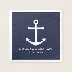 Modern Nautical Navy Blue Anchor Wedding Napkin