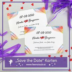 Wir entwerfen mit euch gemeinsam euer ganz persönliches Hochzeitsdesign. Angefangen von Save the Date Karten über Einladungen, Tischkarten bis hin zu Dankeskarten, begleiten wir euch mit unserer individuellen Hochzeitspapeterie. Das Designe diese Save the Date Postkarten besteht aus Tüchern in Regenbogenfarben und roten Herzen.  #hochzeit #feenstaub #savethedate #regenbogenfarben Save The Date Karten, Wedding Vows, Getting Married, Map Invitation, Thanks Card, Card Wedding, Invitations, Rainbow Colours, Place Cards