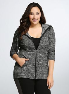 Plus Size Torrid Active - Spacedye Zip Hoodie, CHARCOAL HEATHER