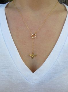 Bumble Bee and Honeycomb Necklace, Honey Bee Necklace by LaMerLove, $36.00