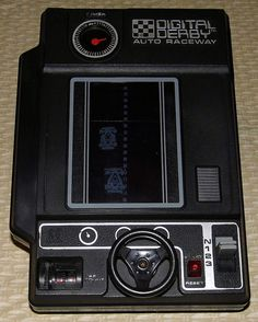 """Vintage Digital Derby Auto Raceway Handheld Electro-Mechanical Game by Tomy, Model No. Takes 2 """"C"""" Batteries, Made in Japan, Copyright 1978 70s Toys, Retro Toys, Vintage Toys 1970s, 1980 Toys, Retro Videos, Retro Video Games, Retro Games, My Childhood Memories, Childhood Toys"""