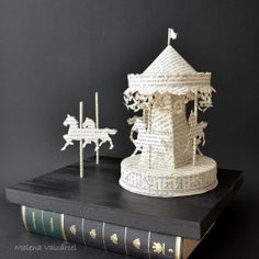Book Paper Sculpture Paper Carousel on wood. by MalenaValcarcel