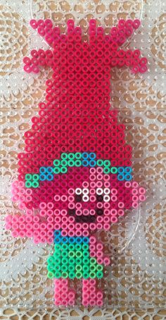 Princess Poppy, from the Trolls Movie, Perler/Hama Pattern beads Hama Beads Design, Diy Perler Beads, Perler Bead Art, Pearler Beads, Melty Bead Patterns, Pearler Bead Patterns, Perler Patterns, Beading Patterns, Motifs Perler