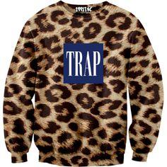 Leopard Trap Sweatshirt 1991INC ($60) ❤ liked on Polyvore featuring tops, hoodies, sweatshirts, shirts, sweaters, sweatshirt shirts, shirts & tops, sweat tops, leopard sweatshirt and brown shirt